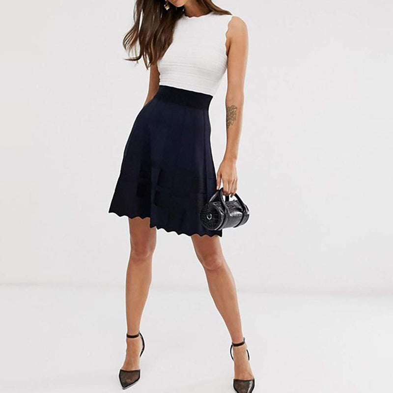 Ted Baker Polino Contrast Skirt Scalloped Knitted Dress RRP$279 - Zoom Boutique Store