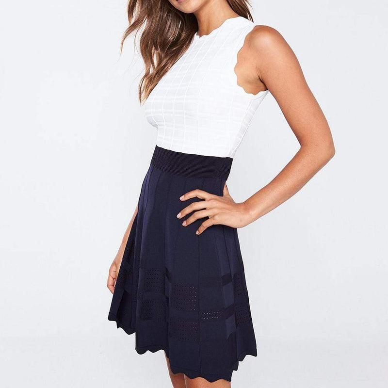 Ted Baker Polino Contrast Skirt Scalloped Knitted Dress $279 - Zoom Boutique Store