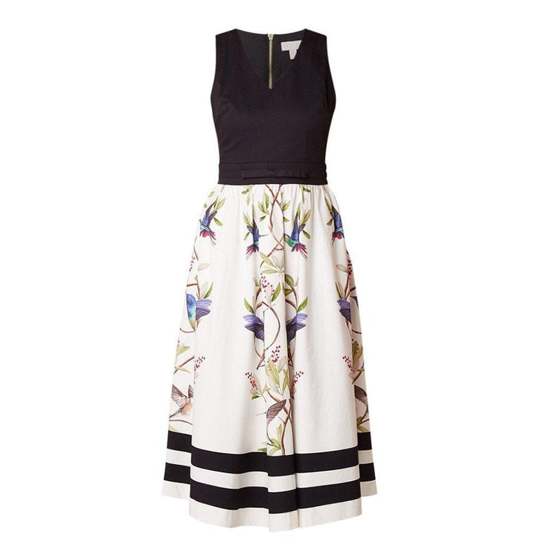 Ted Baker Reice Hummingbird High Grove Midi Dress RRP$349 0 / Black Zoom Boutique Store dress Ted Baker Reice Hummingbird High Grove Midi Dress | Zoom Boutique