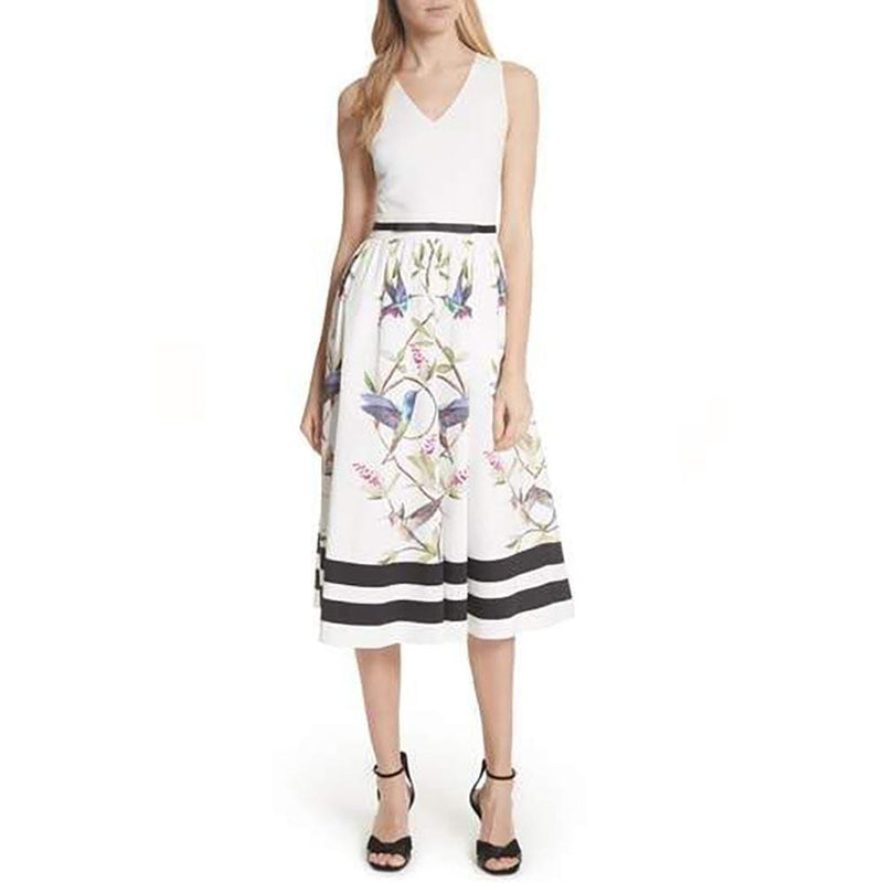 Ted Baker Reice Hummingbird High Grove Midi Dress RRP$349 - Zoom Boutique Store