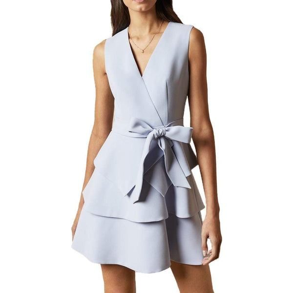 Ted Baker Reinah Tiered Embroidered Mini Wrap Dress $349 0 / Light Blue Zoom Boutique Store dress