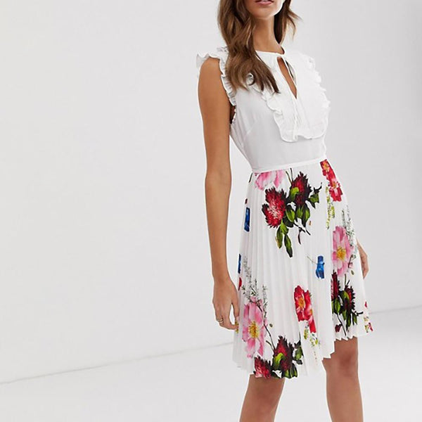 Ted Baker Rommanna Tie Neck Pleated Dress $283 0 / white Zoom Boutique Store dress
