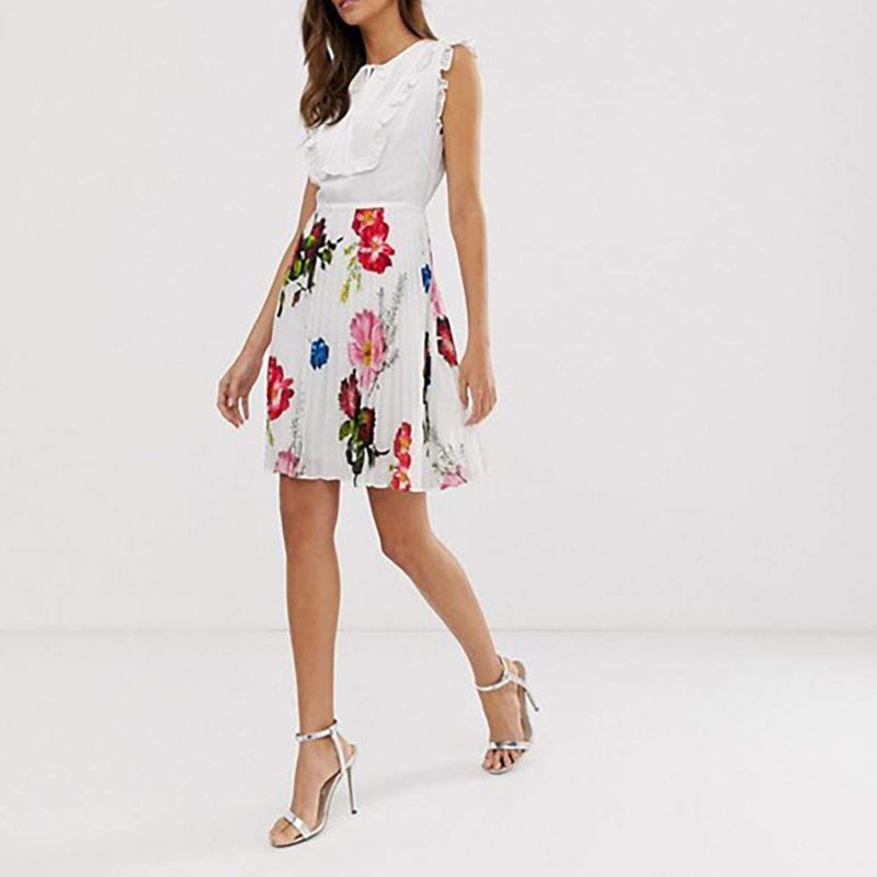 Ted Baker Rommanna Tie Neck Pleated Dress RRP$283 - Zoom Boutique Store