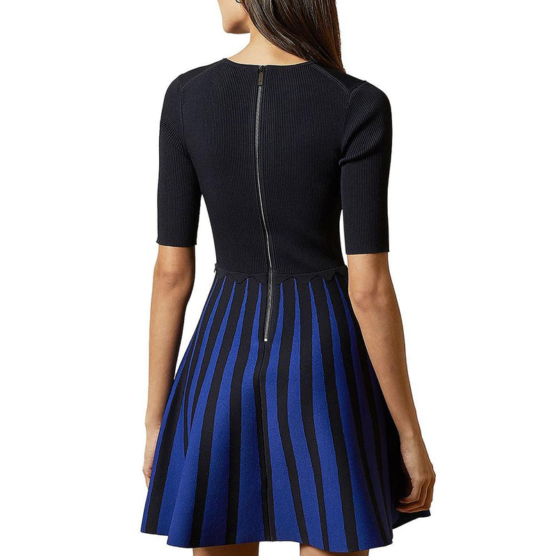 Ted Baker Salyee Ribbed Scalloped Trim Knit Skater Dress RRP$259 - Zoom Boutique Store