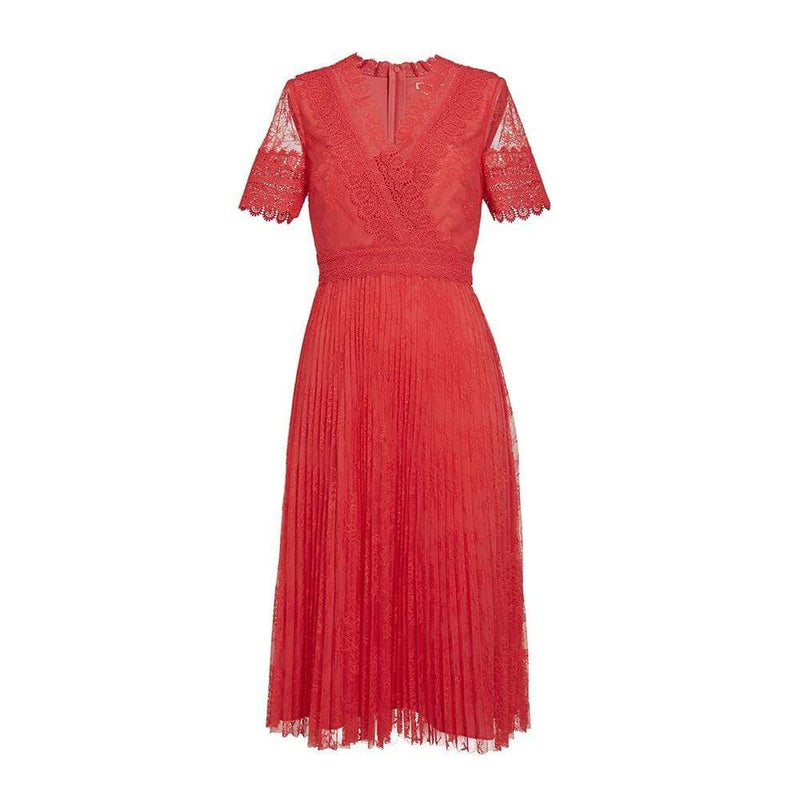 Ted Baker Sonyyia Lace Pleated Midi Dress RRP$439 - Zoom Boutique Store