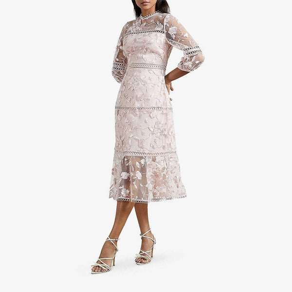 Ted Baker Tabii Lace Floral Embroidered Semi Sheer Midi Dress Zoom Boutique Store dress Ted Baker Tabii Lace Floral Embroidered Midi Dress | Zoom Boutique