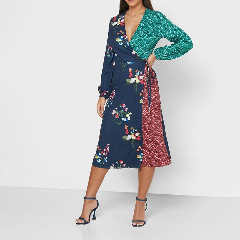 Ted Baker Talissa Peppermint Mix Print Faux Wrap Midi Dress Zoom Boutique Store dress Ted Baker Talissa Peppermint Faux Wrap Midi Dress | Zoom Boutique
