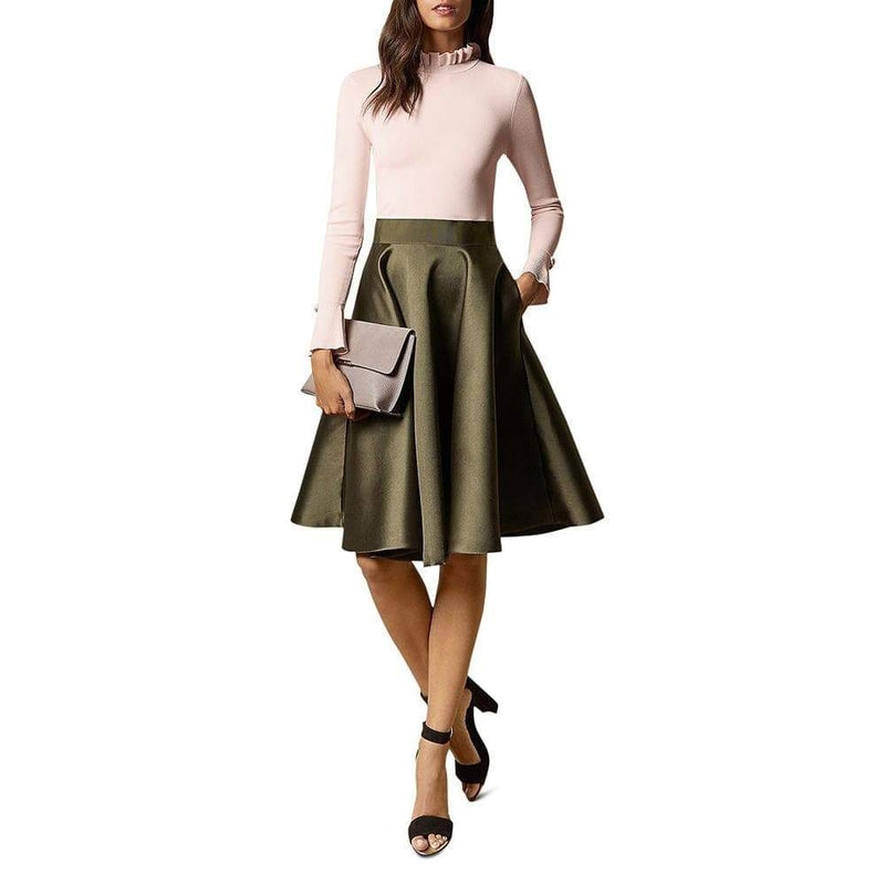 Ted Baker Zadi Knit Frilled Fit & Flare Combo Midi Dress RRP$349 - Zoom Boutique Store