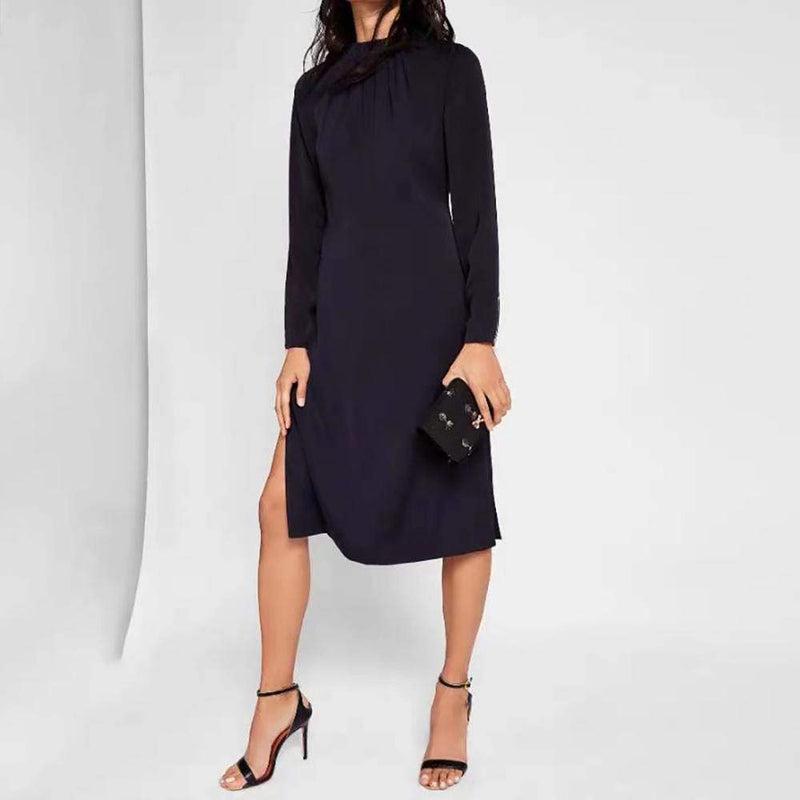 Ted Baker Zip Detail Side Slit Pleated Shift Dress RRP$315 Zoom Boutique Store dress Ted Baker Zip Detail Side Slit Pleated Shift Dress | Zoom Boutique