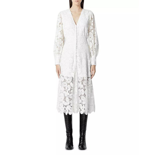 The Kooples Ecru V Neck Button Detail Paisley Lace Midi Dress Zoom Boutique Store dress The Kooples Ecru V Neck Button Paisley Lace Midi Dress | Zoom Boutique