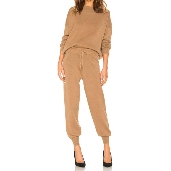 Theory Relaxed Drop Shoulder Wool Cashmere Sweater & Track Knit Pants RRP$375+$395 Zoom Boutique Store sweater Theory Drop Shoulder Wool Cashmere Sweater Knit Pants | Zoom Boutique