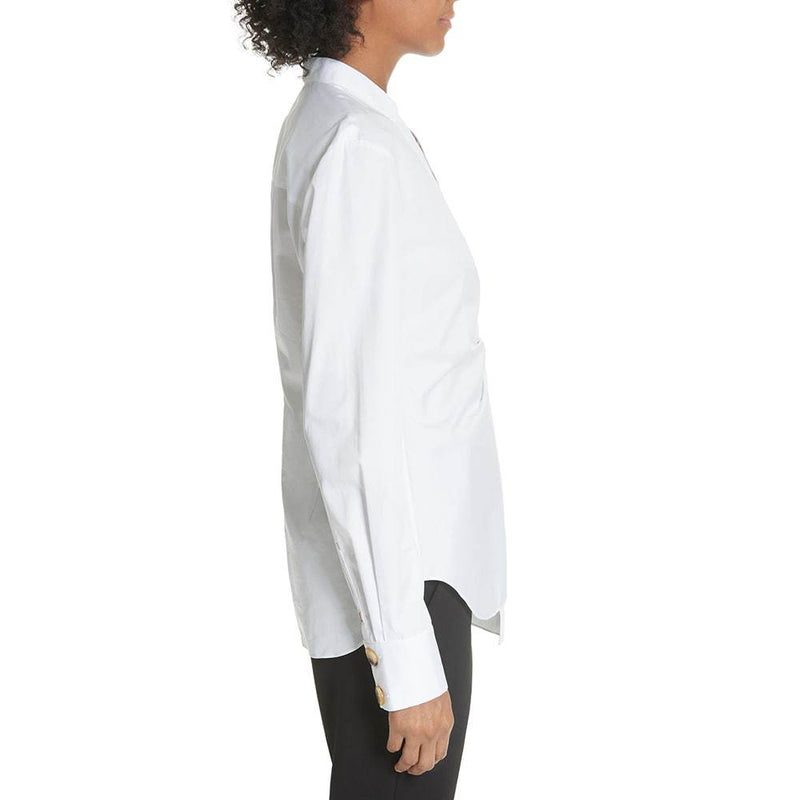 TIBI Asymmetrical Large Button White Cotton Top Shirt Zoom Boutique Store top TIBI Asymmetrical Large Button White Cotton Top Shirt | Zoom Boutique