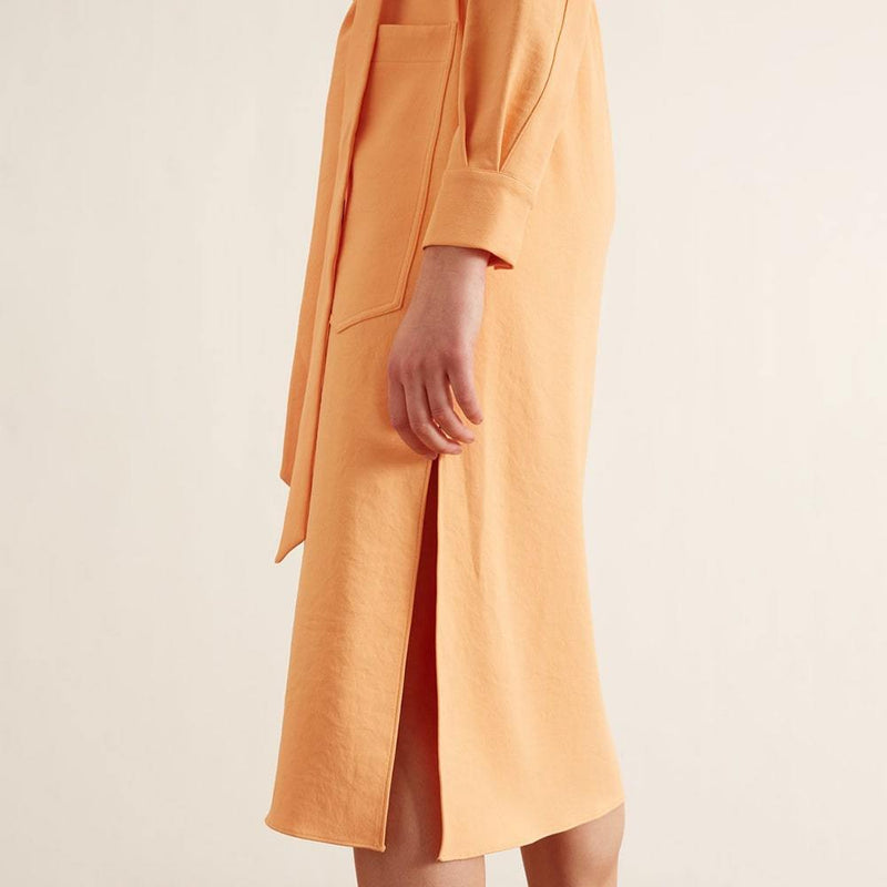 Tibi Chalky Drape Cargo Long Sleeve Self Tie Midi Shirt Dress Zoom Boutique Store dress Tibi Chalky Drape Cargo Self Tie Midi Shirt Dress | Zoom Boutique