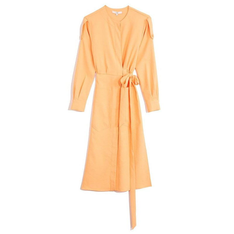 Tibi Chalky Drape Cargo Long Sleeve Self Tie Midi Shirt Dress US0 / Melon Zoom Boutique Store dress Tibi Chalky Drape Cargo Self Tie Midi Shirt Dress | Zoom Boutique
