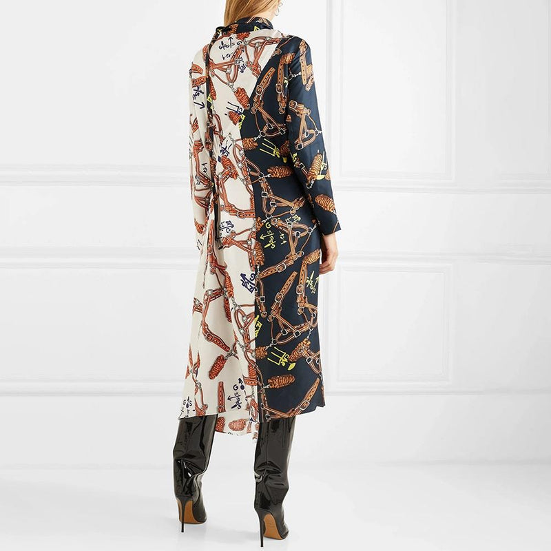 Tibi Renzo Scarf Print Bicolor High Neck Asymmetric Hem Silk Dress Zoom Boutique Store dress Tibi Renzo Scarf Print Bicolor Asymmetric Silk Dress | Zoom Boutique