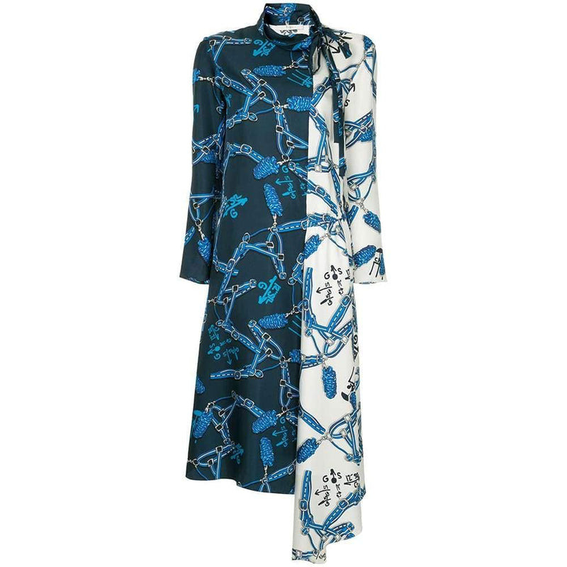 Tibi Renzo Scarf Print Bicolor High Neck Asymmetric Hem Silk Dress