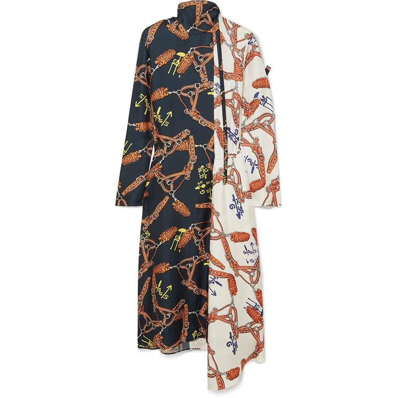 Tibi Renzo Scarf Print Bicolor High Neck Asymmetric Hem Silk Dress US00 / Orange Zoom Boutique Store dress Tibi Renzo Scarf Print Bicolor Asymmetric Silk Dress | Zoom Boutique