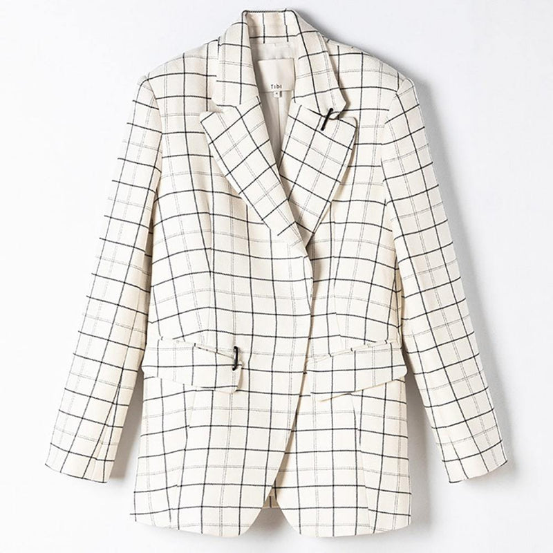 Tibi Windowpane Peaked Lapel Wool Blend Jacket Blazer RRP$995
