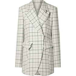 Tibi Windowpane Peaked Lapel Wool Blend Jacket Blazer RRP$995 US6 Zoom Boutique Store blazer Tibi Windowpane Peaked Lapel Wool Blend Jacket Blazer | Zoom Boutique
