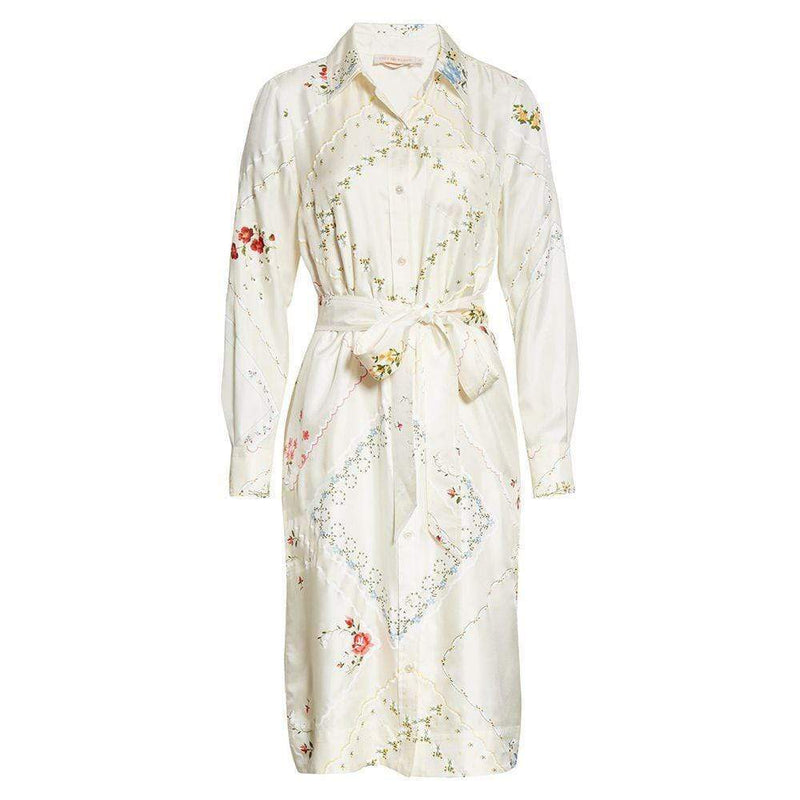 Tory Burch Afternoon Tea Handkerchief Printed Shirt Silk Dress US0 Zoom Boutique Store dress Tory Burch Afternoon Tea Handkerchief Shirt Silk Dress | Zoom Boutique