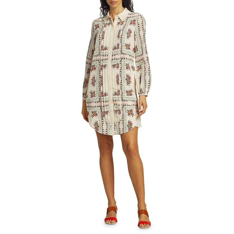 Tory Burch Cora Floral Silk Shirt Long Sleeves Mini Dress Zoom Boutique Store dress Tory Burch Cora Silk Shirt Long Sleeves Mini Dress | Zoom Boutique