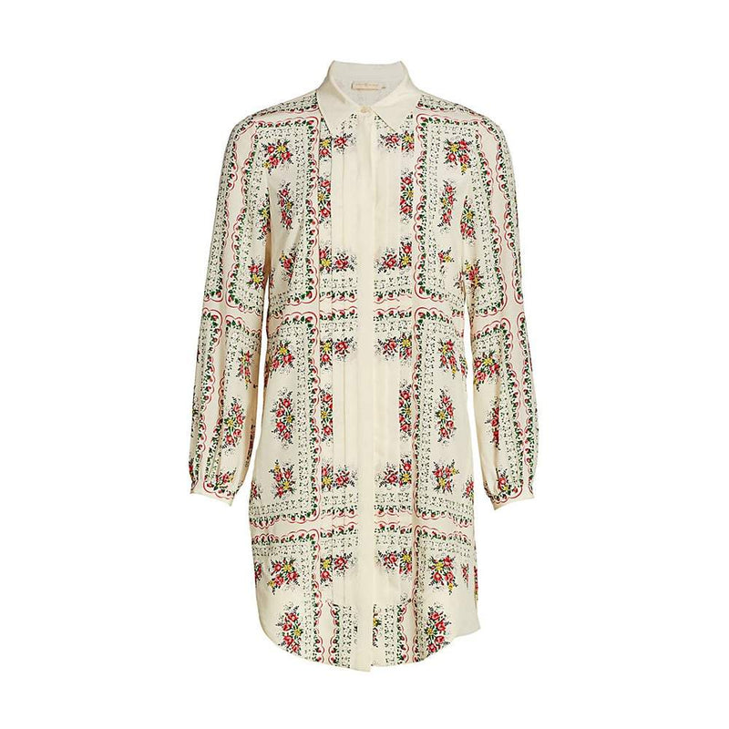 Tory Burch Cora Floral Silk Shirt Long Sleeves Mini Dress US00 Zoom Boutique Store dress Tory Burch Cora Silk Shirt Long Sleeves Mini Dress | Zoom Boutique