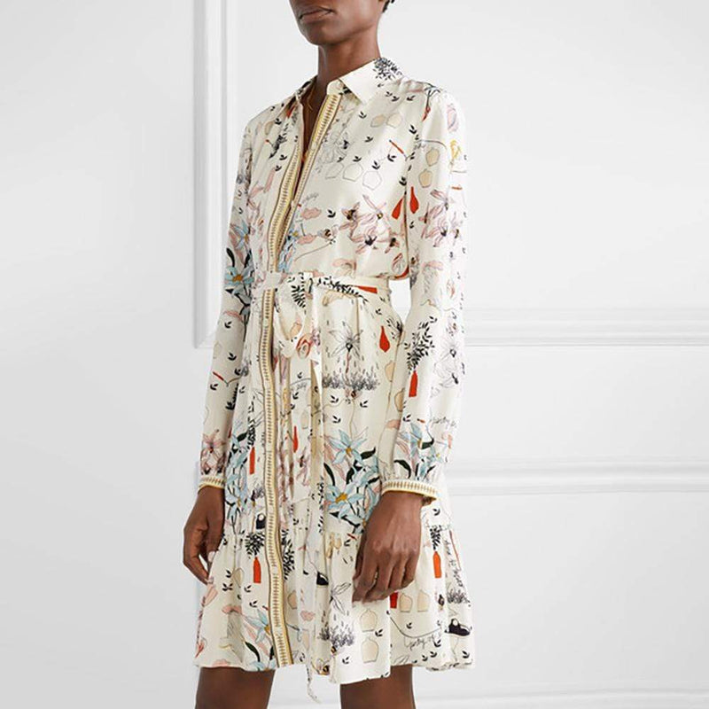 Tory Burch Cora Silk Long Sleeve Ruffle Hem Shirt Dress RRP$498 - Zoom Boutique Store