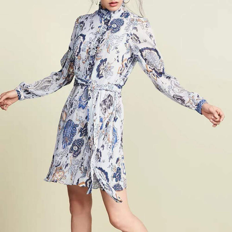 Tory Burch Deneuve Floral Ruffle Trim Mini Dress RRP$348 - Zoom Boutique Store