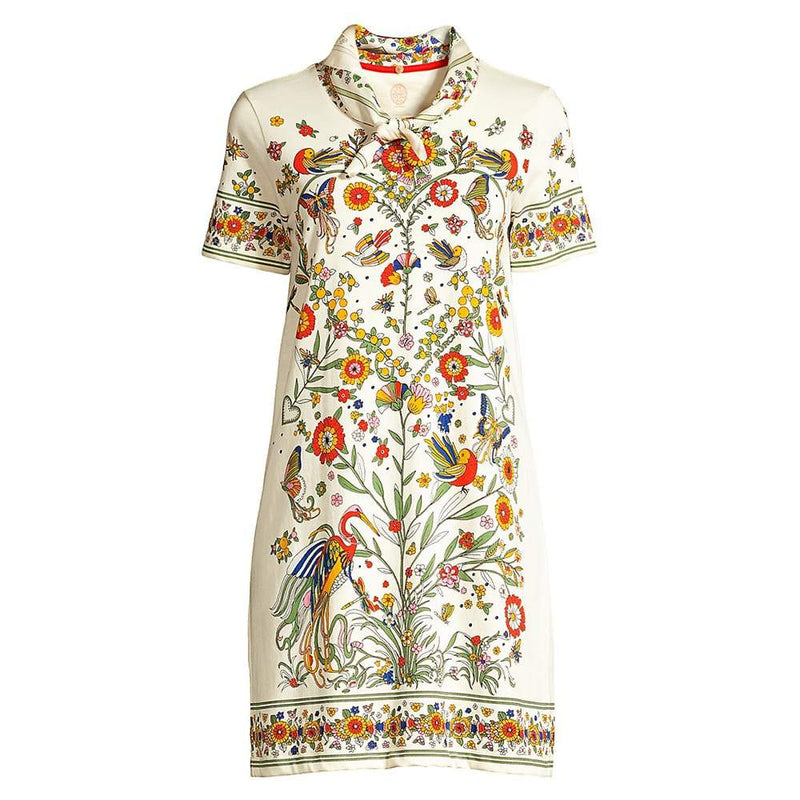 Tory Burch Floral Print Scarf Embellished Shift Dress S Zoom Boutique Store dress Tory Burch Floral Print Scarf Embellished Shift Dress | Zoom Boutique