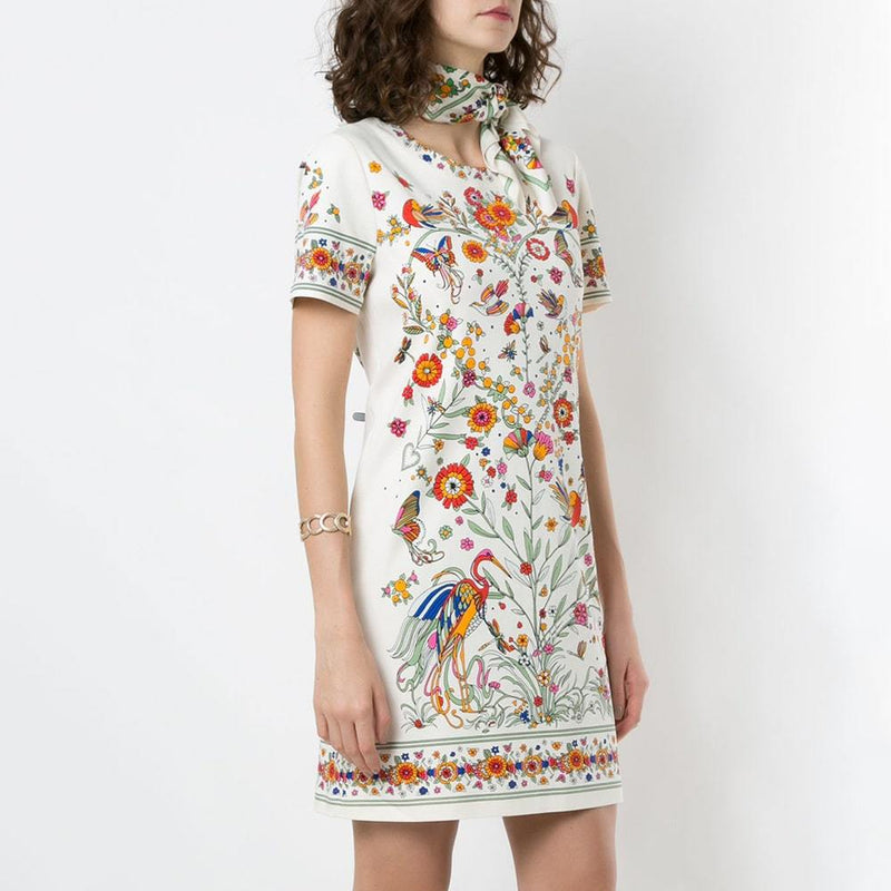 Tory Burch Floral Print Scarf Embellished Shift Dress Zoom Boutique Store dress Tory Burch Floral Print Scarf Embellished Shift Dress | Zoom Boutique