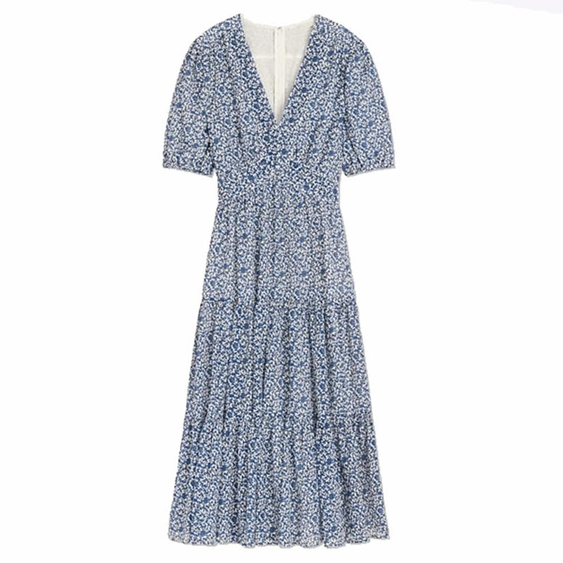 Tory Burch Floral V Neck Flared Midi Dress RRP$673 0 / Blue Zoom Boutique Store dress Tory Burch Floral V Neck Flared Midi Dress | Zoom Boutique