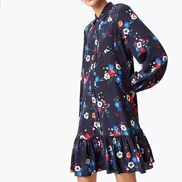 Tory Burch Gabrielle Silk Ruffle Hem Shirt Dress RRP$448 - Zoom Boutique Store
