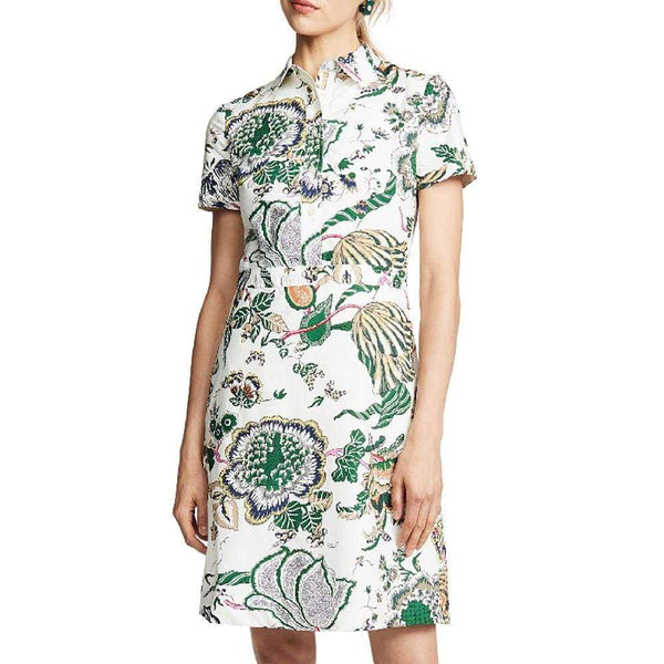Tory Burch Ivory Happy Times Port Cotton Floral Print Shirt Dress Zoom Boutique Store dress Tory Burch Ivory Happy Times Port Cotton Shirt Dress | Zoom Boutique