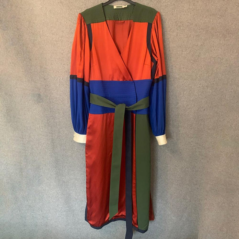 Tory Burch Kola Colorblock Silk Blend Satin Crepe Wrap Dress Zoom Boutique Store dress Tory Burch Kola Colorblock Silk Satin Crepe Wrap Dress | Zoom Boutique