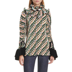 Tory Burch geplooide converteerbare ruches blouse Top Zoom Boutique Store top Tory Burch geplooide converteerbare ruches blouse top | Zoom Boutique