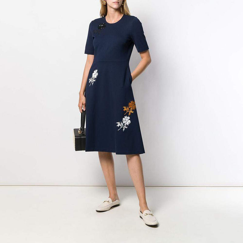 Tory Burch Sequined Embroidered Stretch Ponte Dress RRP$398 Zoom Boutique Store dress Tory Burch Sequined Embroidered Stretch Ponte Dress | Zoom Boutique