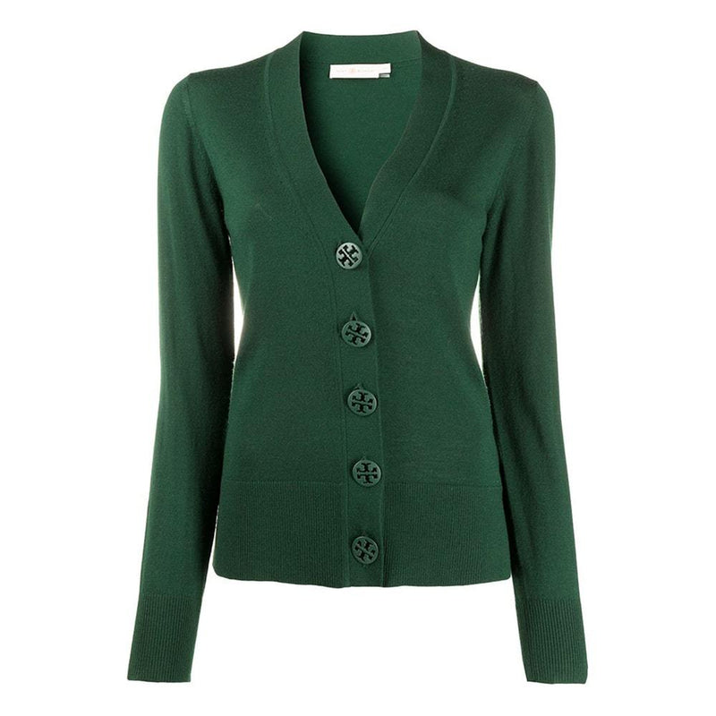 Tory Burch Simone Button Front Merino Wool Top Cardigan S / Green Zoom Boutique Store cardigan Tory Burch Simone Button Front Merino Wool Top Cardigan| Zoom Boutique