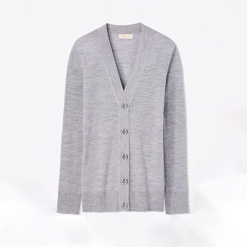 Tory Burch Simone Button Front Merino Wool Top Cardigan S / Grey Zoom Boutique Store cardigan Tory Burch Simone Button Front Merino Wool Top Cardigan| Zoom Boutique