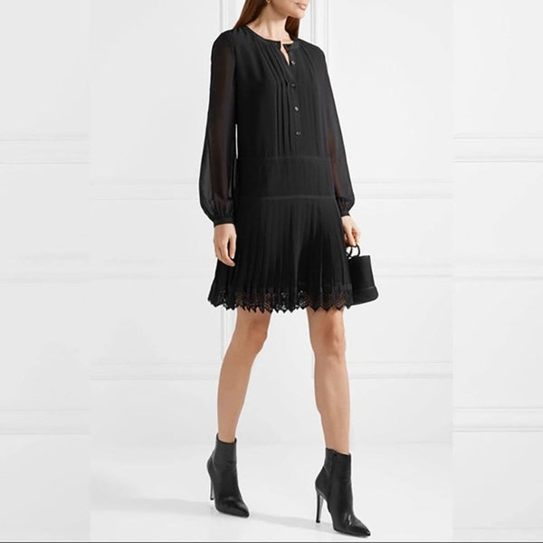 Tory Burch Sydney Black Chiffon Pleated Skirt Dress Zoom Boutique Store dress Tory Burch Sydney Black Chiffon Pleated Skirt Dress | Zoom Boutique