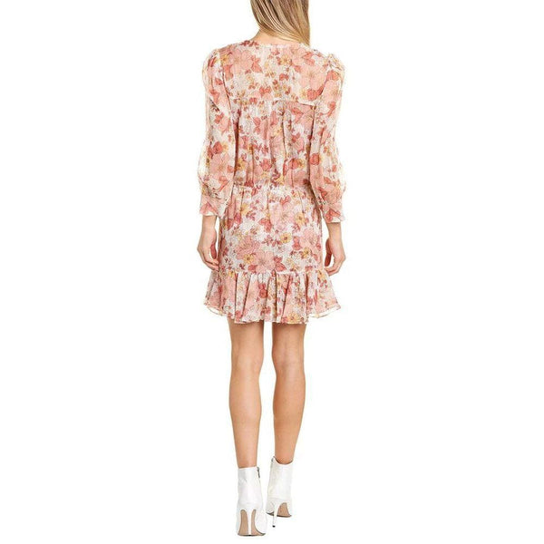 Veronica Beard Cybil Silk Floral Metallic Shimmer Mini Dress Zoom Boutique Store dress Veronica Beard Cybil Silk Metallic Shimmer Mini Dress | Zoom Boutique