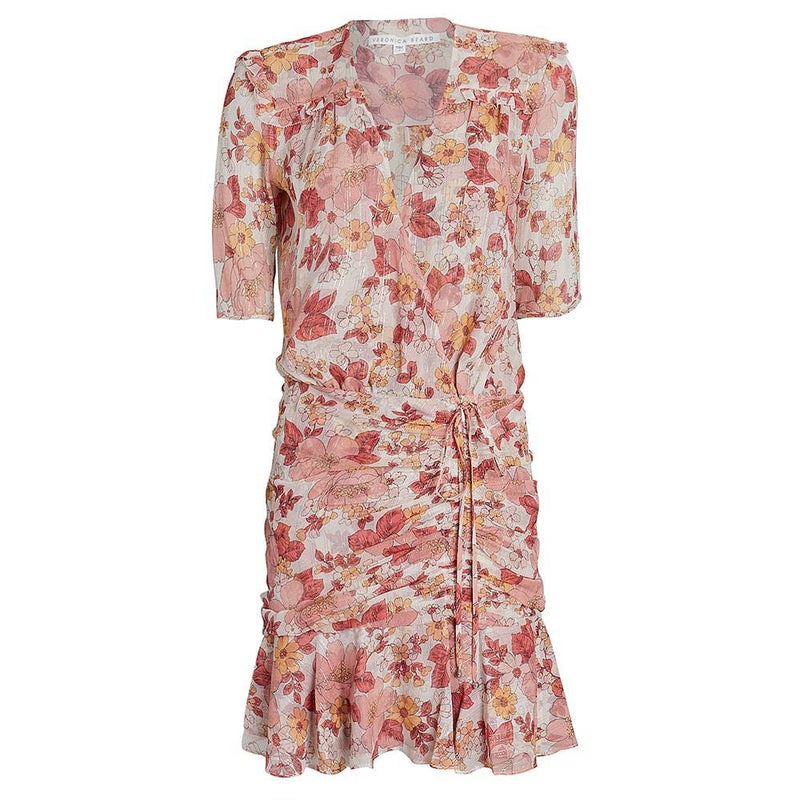Veronica Beard Dakota Ruched Floral Silk Mini Dress RRP$550 4 Zoom Boutique Store dress Veronica Beard Dakota Ruched Floral Silk Mini Dress | Zoom Boutique