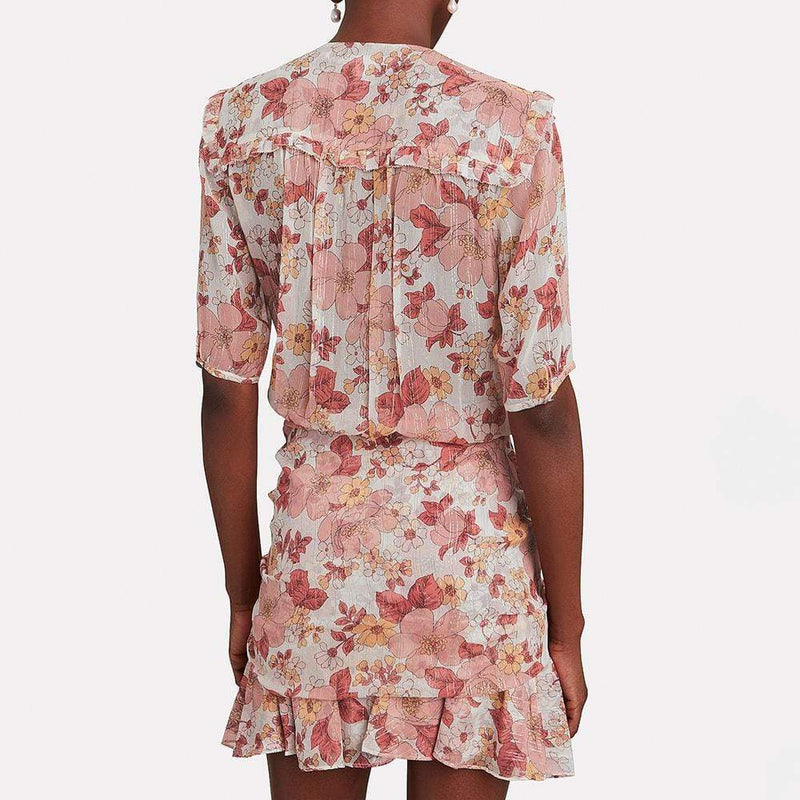 Veronica Beard Dakota Ruched Floral Silk Mini Dress RRP$550 Zoom Boutique Store dress Veronica Beard Dakota Ruched Floral Silk Mini Dress | Zoom Boutique
