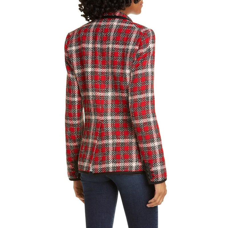 Veronica Beard Harriet Cutaway Red Checked Blazer RRP$650 Zoom Boutique Store blazer Veronica Beard Harriet Cutaway Red Checked Blazer | Zoom Boutique