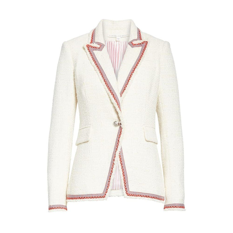 Veronica Beard Pattered Trim Raw Edge Cutaway Jacket Blazer RRP$595 0 Zoom Boutique Store blazer Veronica Beard Pattered Trim Raw Edge Cutaway Blazer | Zoom Boutique
