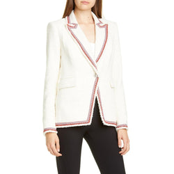 Veronica Beard Pattered Trim Raw Edge Cutaway Jacket Blazer RRP $ 595 Zoom Boutique Store blazer Veronica Beard Pattered Trim Raw Edge Cutaway Blazer | Zoom Boutique