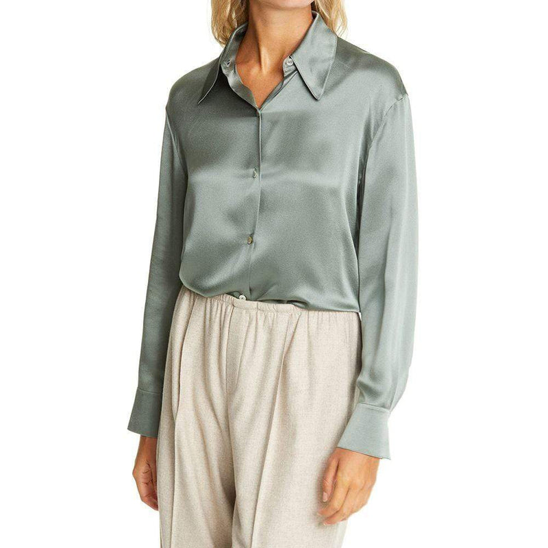Vince Shaped Point Collar Silk Satin Blouse Top Shirt Zoom Boutique Store shirt Vince Shaped Point Collar Silk Satin Blouse Top Shirt | Zoom Boutique