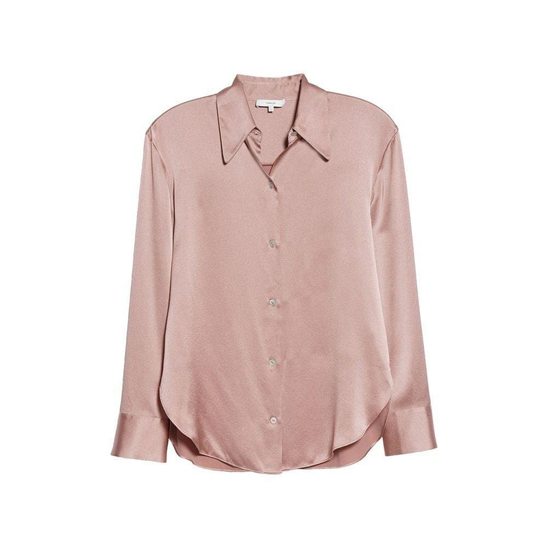 Vince Shaped Point Collar Silk Satin Blouse Top Shirt XS/P / Rose Zoom Boutique Store shirt Vince Shaped Point Collar Silk Satin Blouse Top Shirt | Zoom Boutique