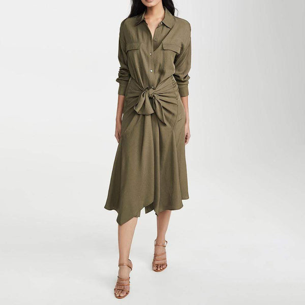 Vince Tie Front Long Sleeves Handkerchief Hem Shirt Dress $425 Zoom Boutique Store dress