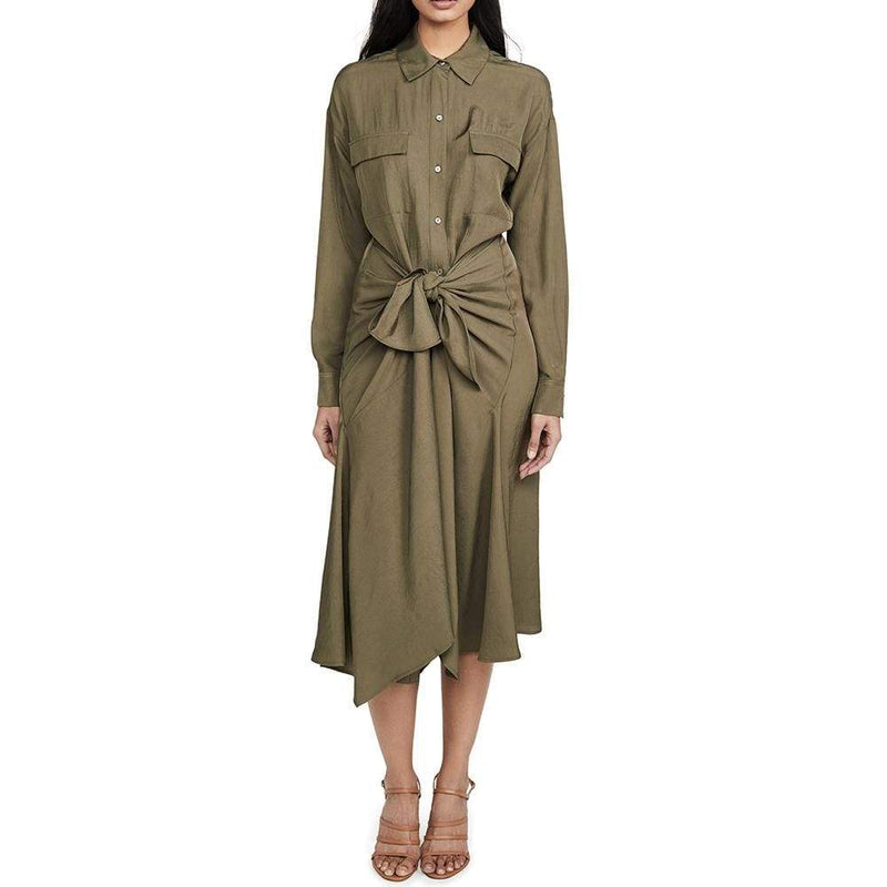 Vince Tie Front Long Sleeves Handkerchief Hem Shirt Dress RRP$425 - Zoom Boutique Store