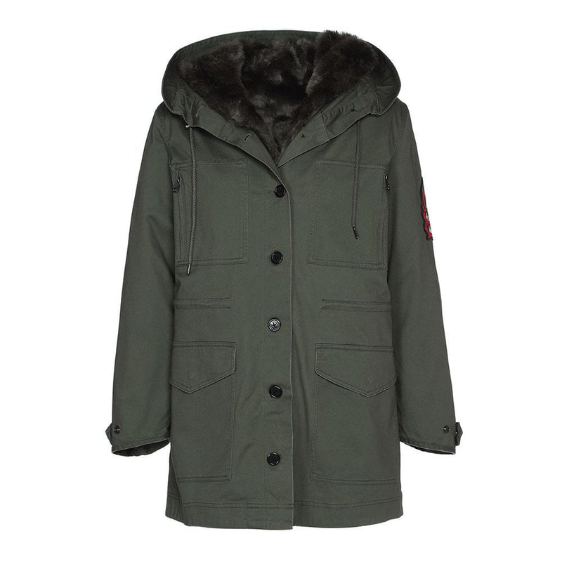 Zadig & Voltaire Kang Mil Removable Inner Hood Parka RRP$838 XS Zoom Boutique Store coat Zadig & Voltaire Kang Mil Removable Inner Hood Parka | Zoom Boutique